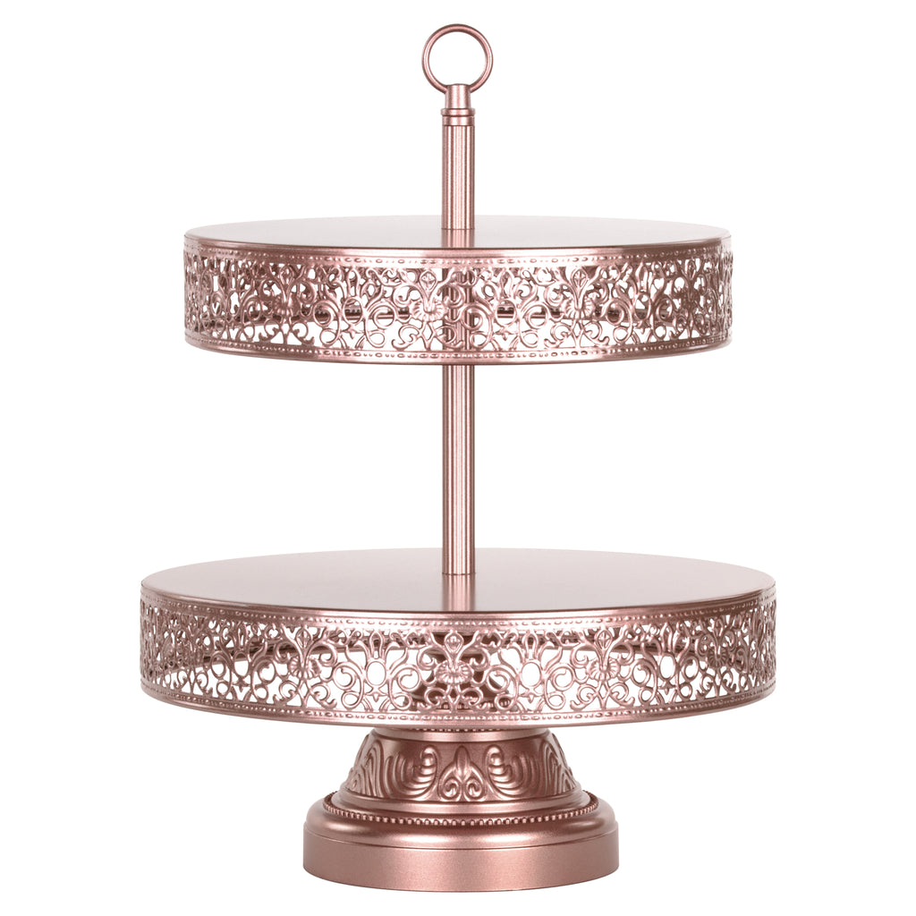 Victoria 2 Tier Rose Gold Metal Dessert Cupcake Stand by Amalfi Decor