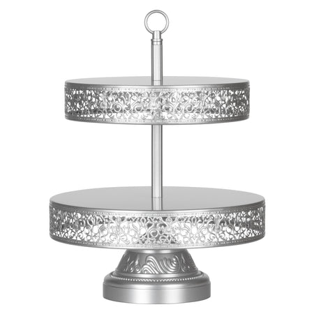 Victoria 2 Tier Silver Metal Dessert Cupcake Stand by Amalfi Decor