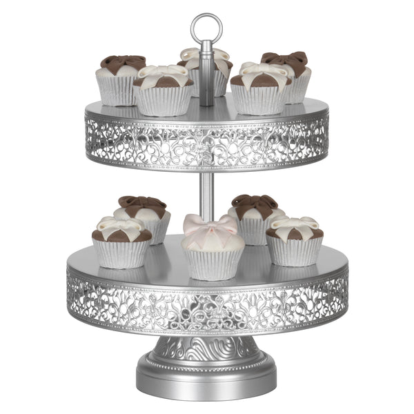Victoria 2 Tier Antique Silver Metal Dessert Cupcake Stand by Amalfi Decor