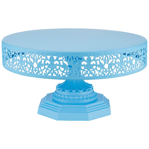 12 Inch Blue Metal Cake Stand Amalfi Decor