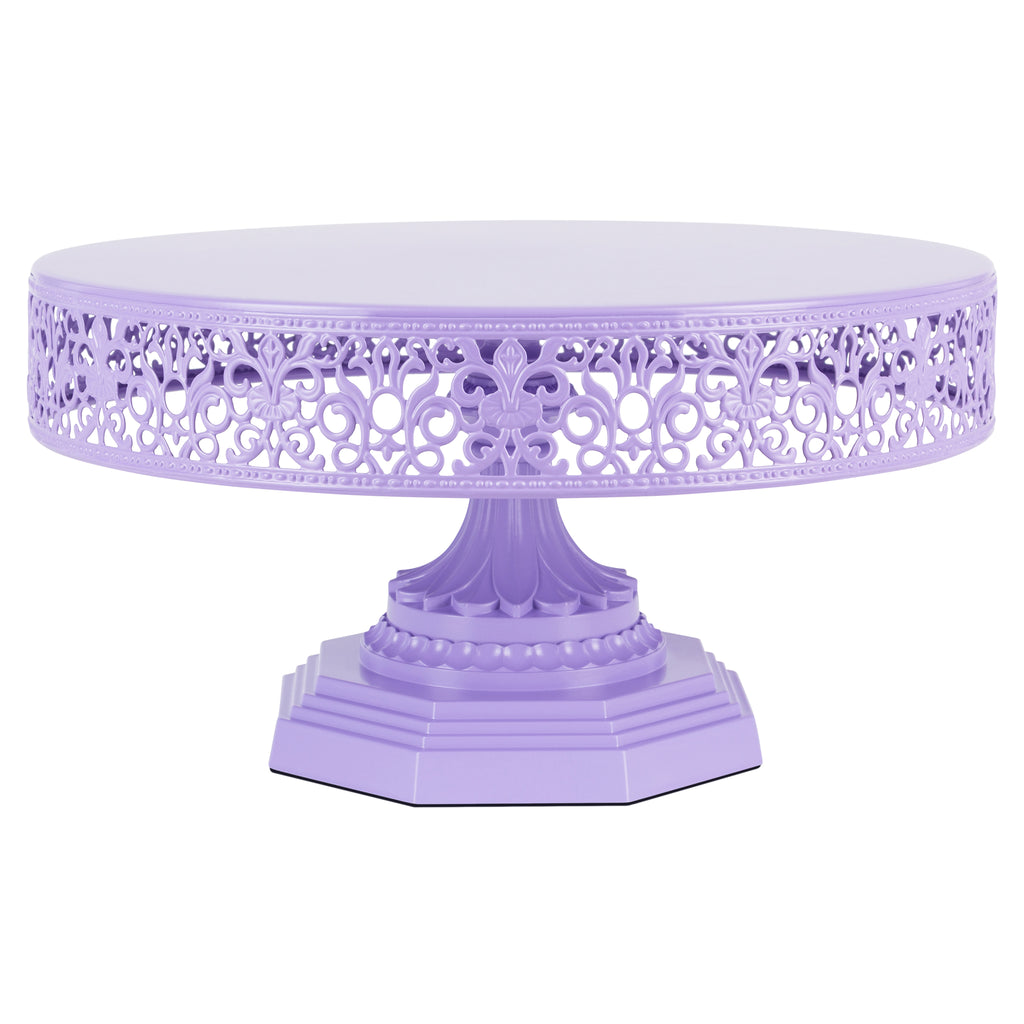 Isabelle 12 Inch Lavender Purple Round Metal Cake Stand by Amalfi Decor