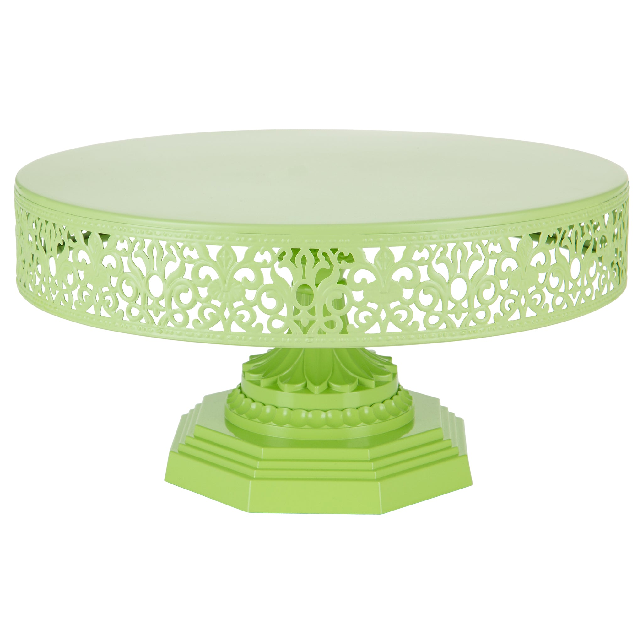 Amalfi Decor 12 Inch Round Metal Wedding Cake Stand (Lime Green) | Stainless Steel Frame