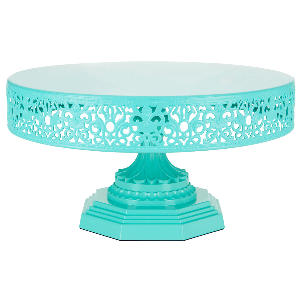 Isabelle 12 Inch Teal Round Metal Cake Stand by Amalfi Decor