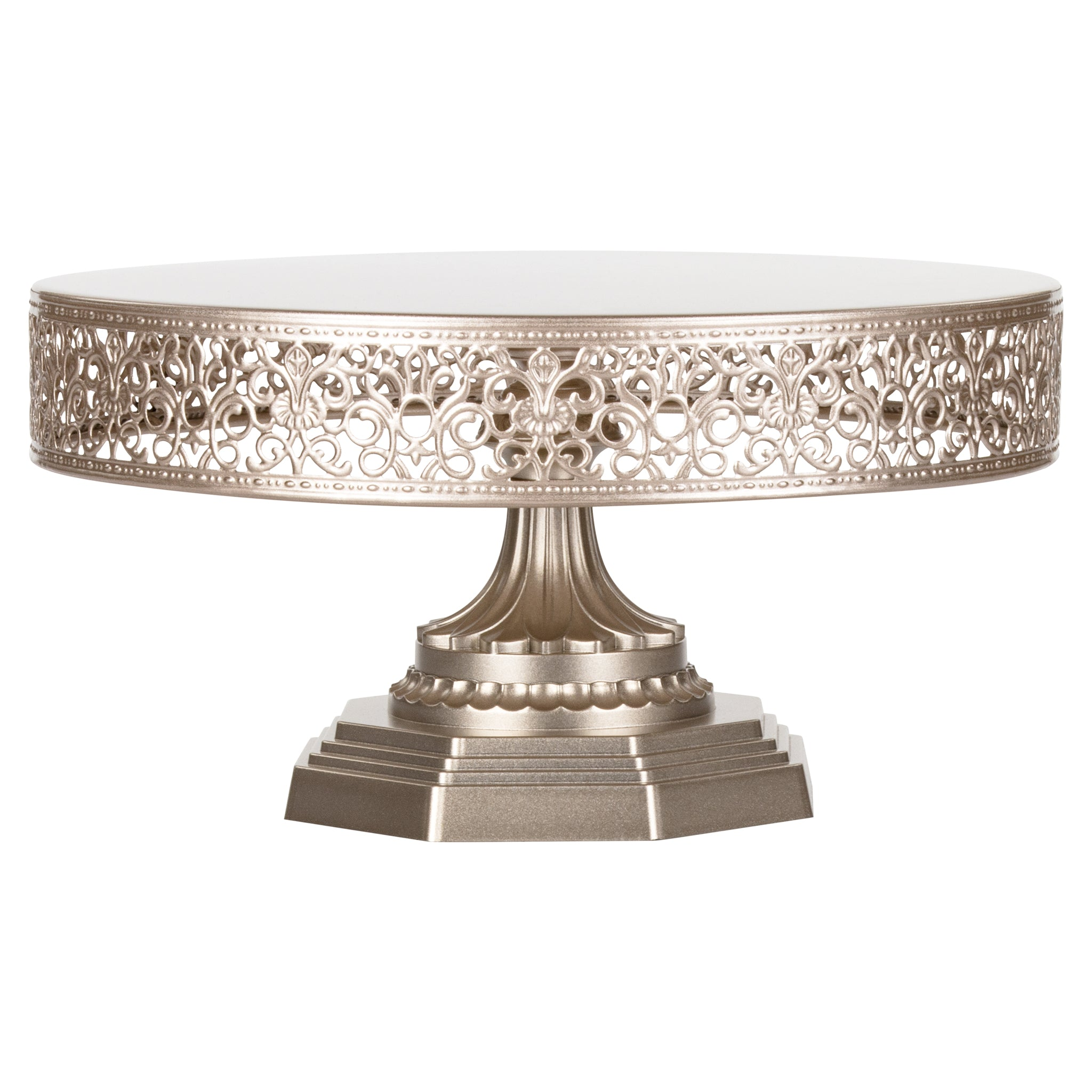 Amalfi Decor 12 Inch Round Metal Wedding Cake Stand (Champagne) | Stainless Steel Frame