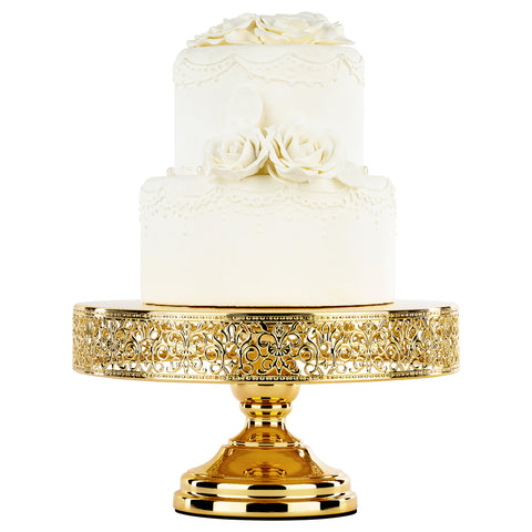 12 Inch Round Gold Plated Metallic Wedding Cake Stand | Amalfi Decor
