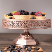 Victoria 12 Inch Rose Gold Round Metal Cake Stand by Amalfi Decor