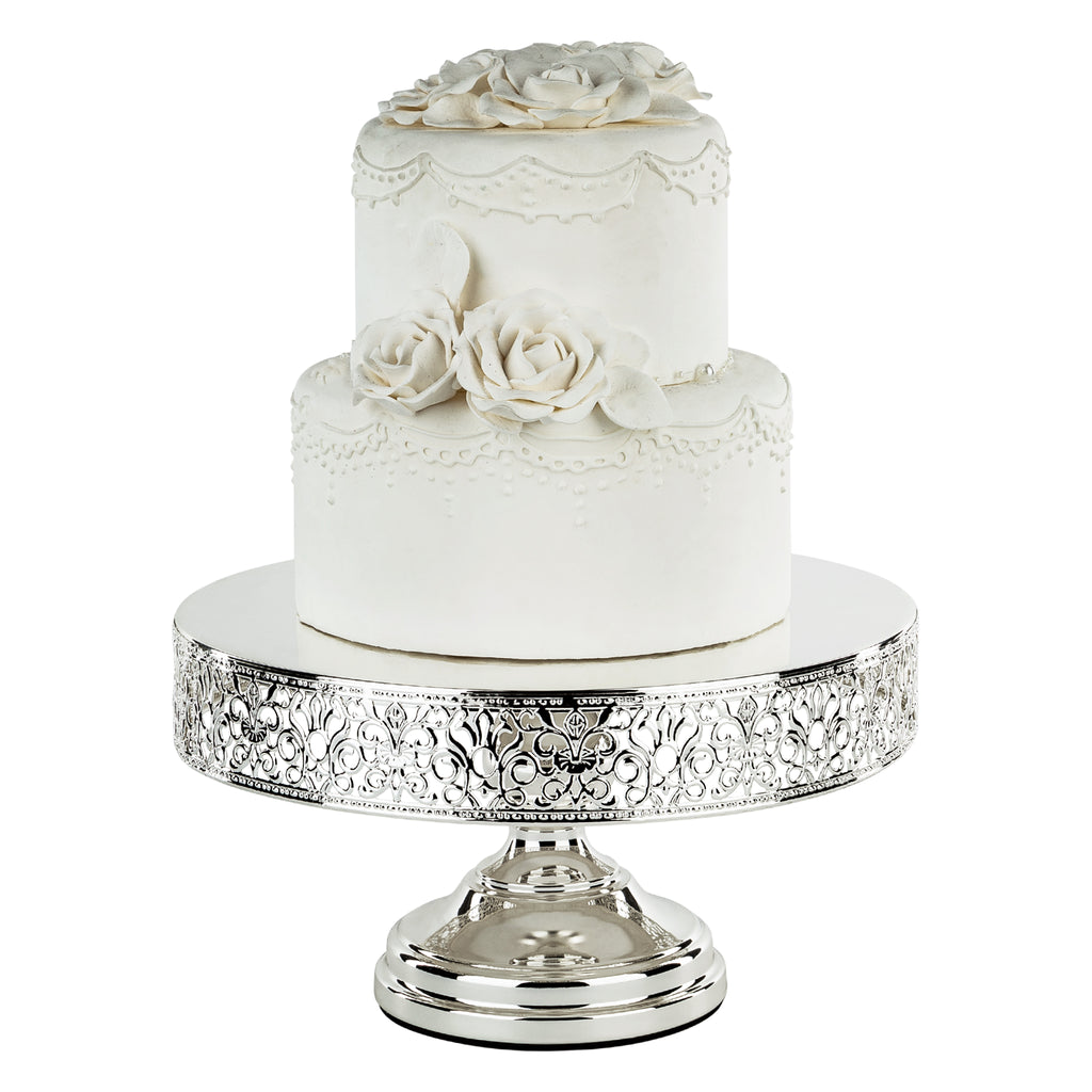 ... 12 Inch Round Chrome Silver Plated Metallic Wedding Cake Stand | Amalfi  Decor ...