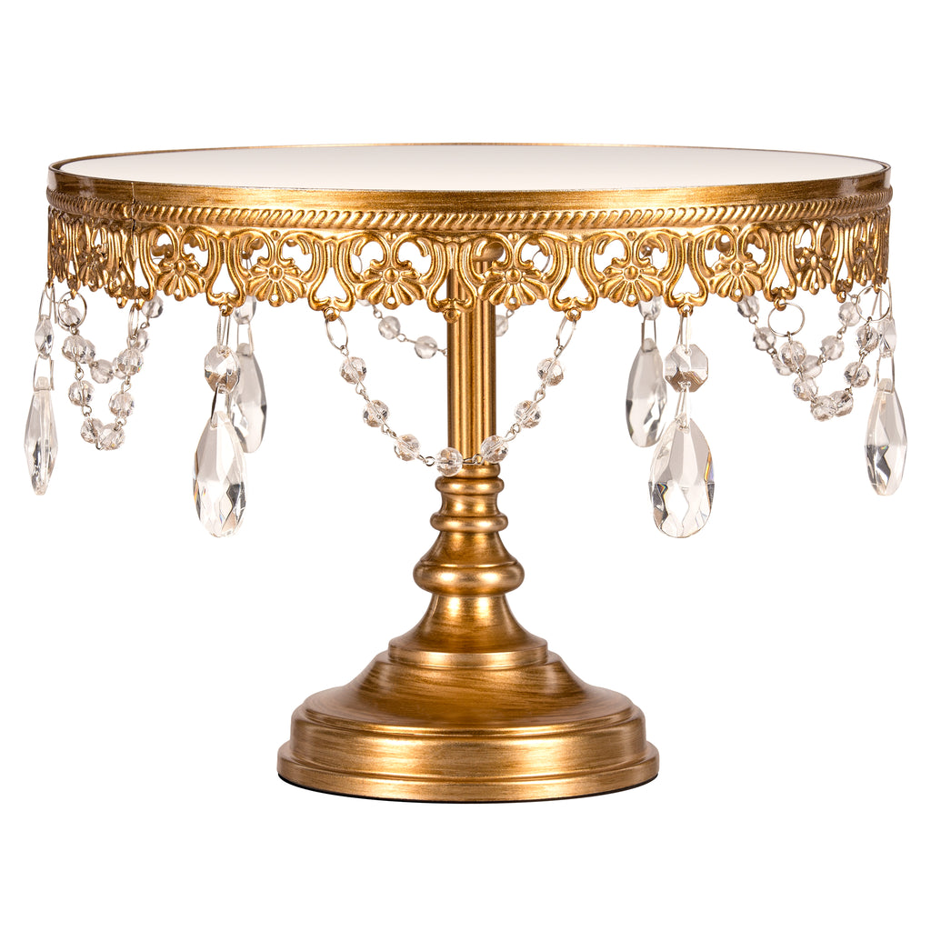 Anastasia 10 Inch Antique Gold Mirror Top Cake Stand by Amalfi Decor