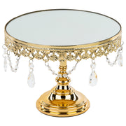 10 Inch Shiny Metallic Gold Plated Mirror-Top Cake Stand | Amalfi Decor