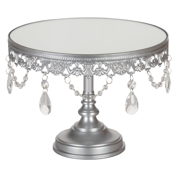 Anastasia 10 Inch Antique Silver Mirror Top Cake Stand by Amalfi Decor