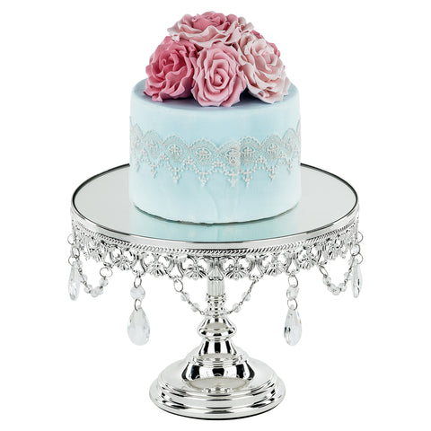 10 Inch Shiny Metallic Chrome Silver Plated Mirror-Top Cake Stand | Amalfi Decor