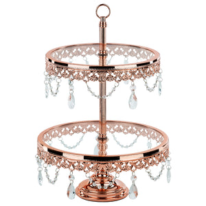 2-Tier Shiny Rose Gold Plated Metallic Glass Top Dessert Cupcake Stand | Amalfi Decor