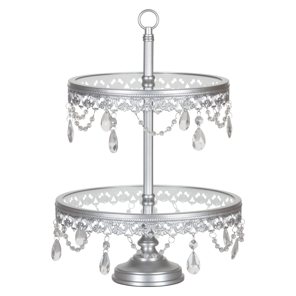 Anastasia 2-Tier Silver Glass Top Dessert Cupcake Stand by Amalfi Decor