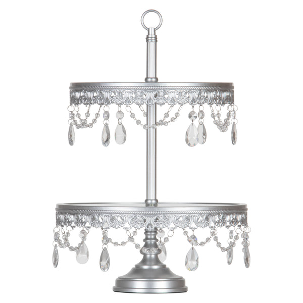 Anastasia 2-Tier Antique Silver Glass Top Dessert Cupcake Stand by Amalfi Decor