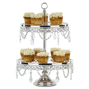2-Tier Shiny Silver Platinum Plated Metallic Glass Top Dessert Cupcake Stand | Amalfi Decor