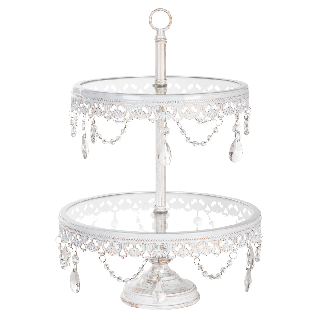 Anastasia 2-Tier Antique White Washed Glass Top Dessert Cupcake Stand by Amalfi Decor