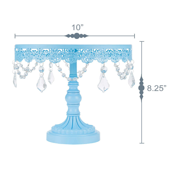 Sophia 10 Inch Blue Crystal Draped Round Cake Stand by Amalfi Decor