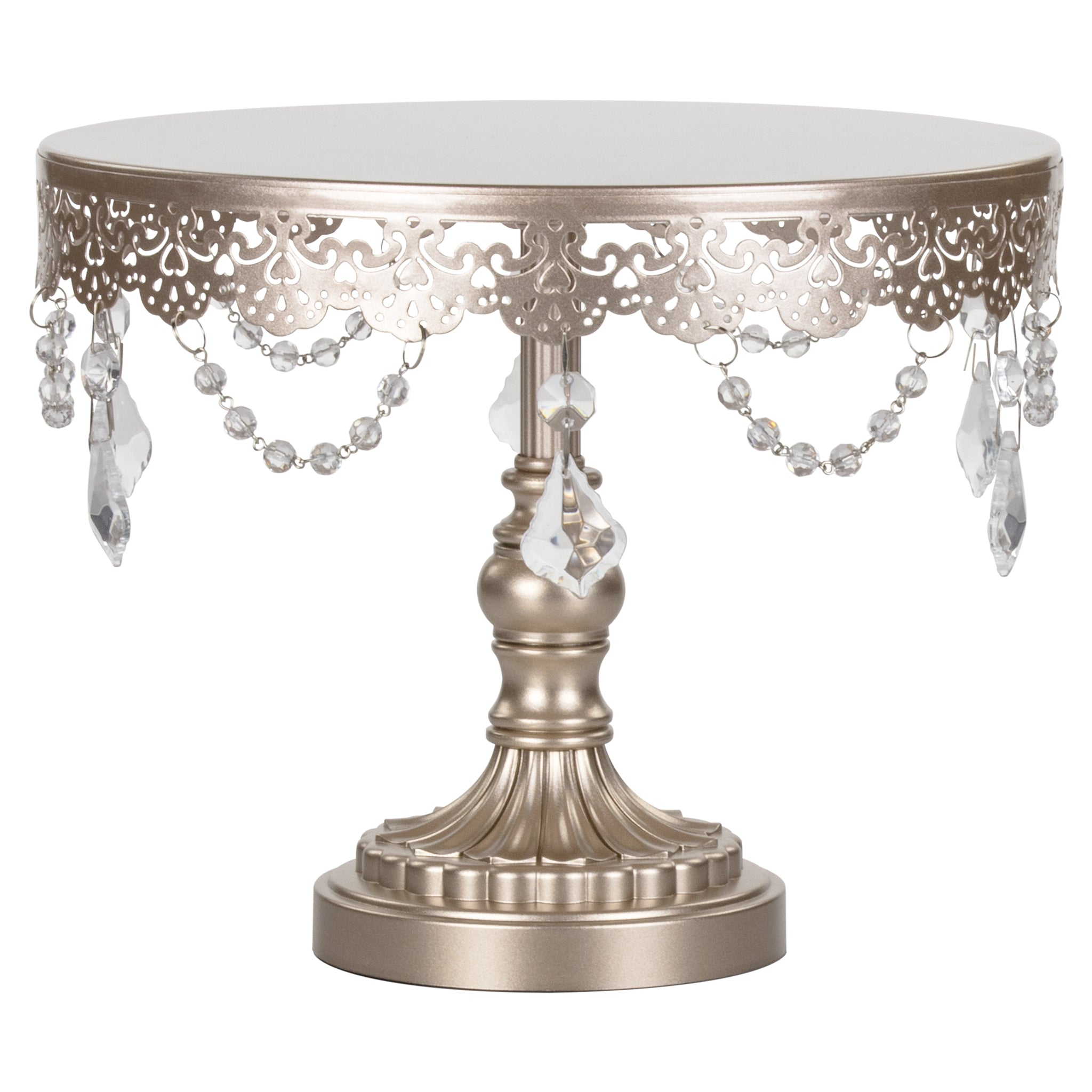 Amalfi Decor 10 Inch Crystal-Draped Round Metal Cake Stand (Champagne) | Stainless Steel Frame