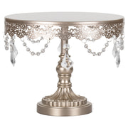 Sophia 10 Inch Champagne Crystal Draped Round Cake Stand by Amalfi Decor