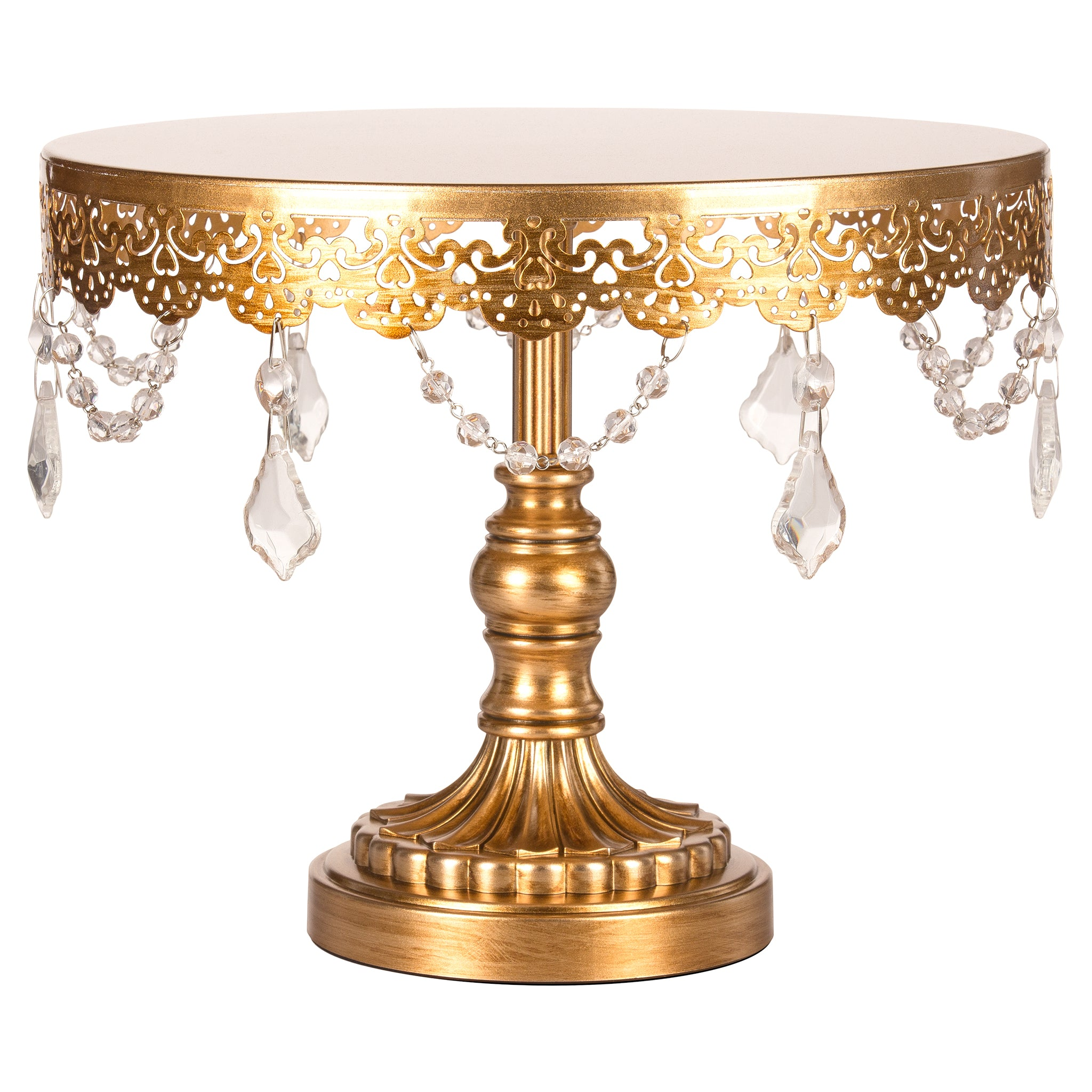 Amalfi Decor 10 Inch Crystal-Draped Round Metal Cake Stand (Gold) | Stainless Steel Frame