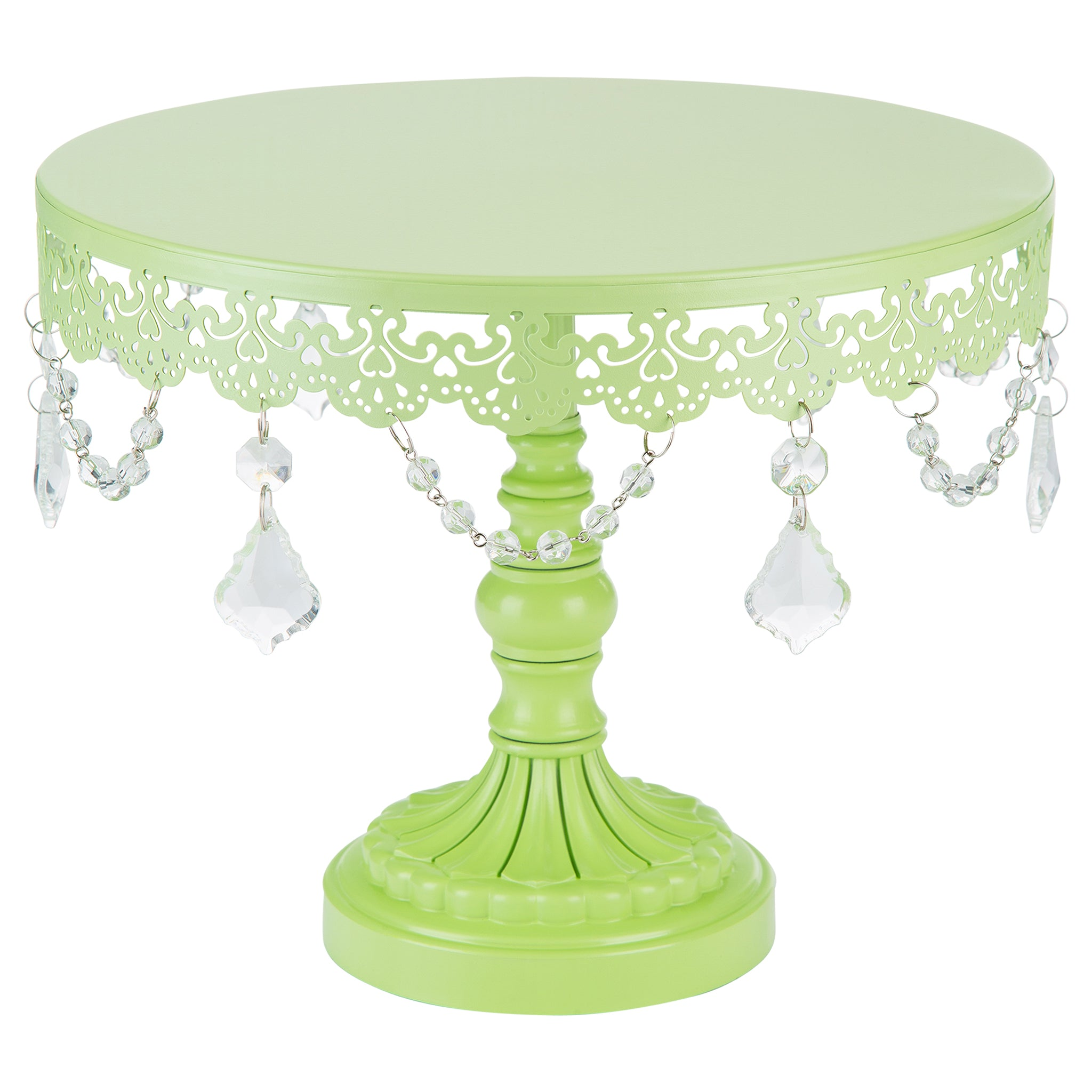 Amalfi Decor 10 Inch Crystal-Draped Round Metal Cake Stand (Lime Green) | Stainless Steel Frame