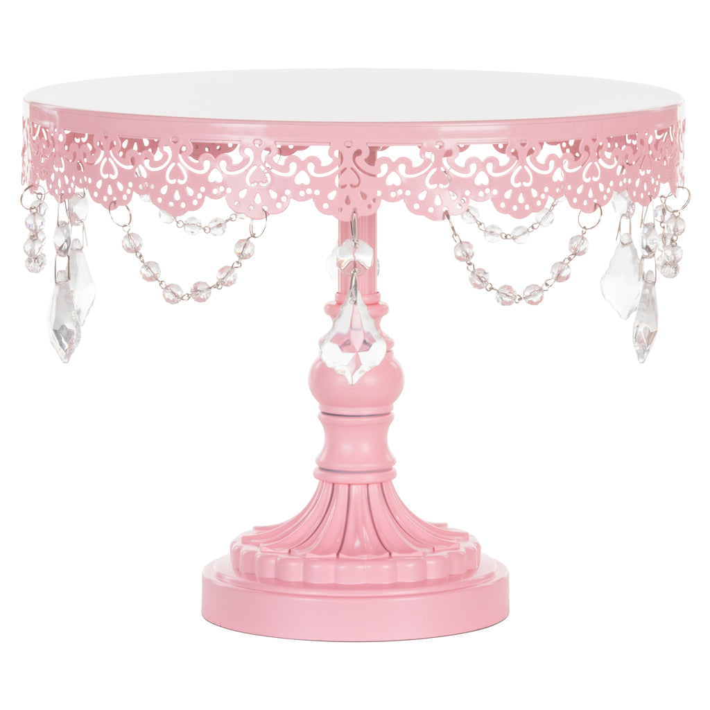 Sophia 10 Inch Pink Crystal Draped Round Cake Stand by Amalfi Decor