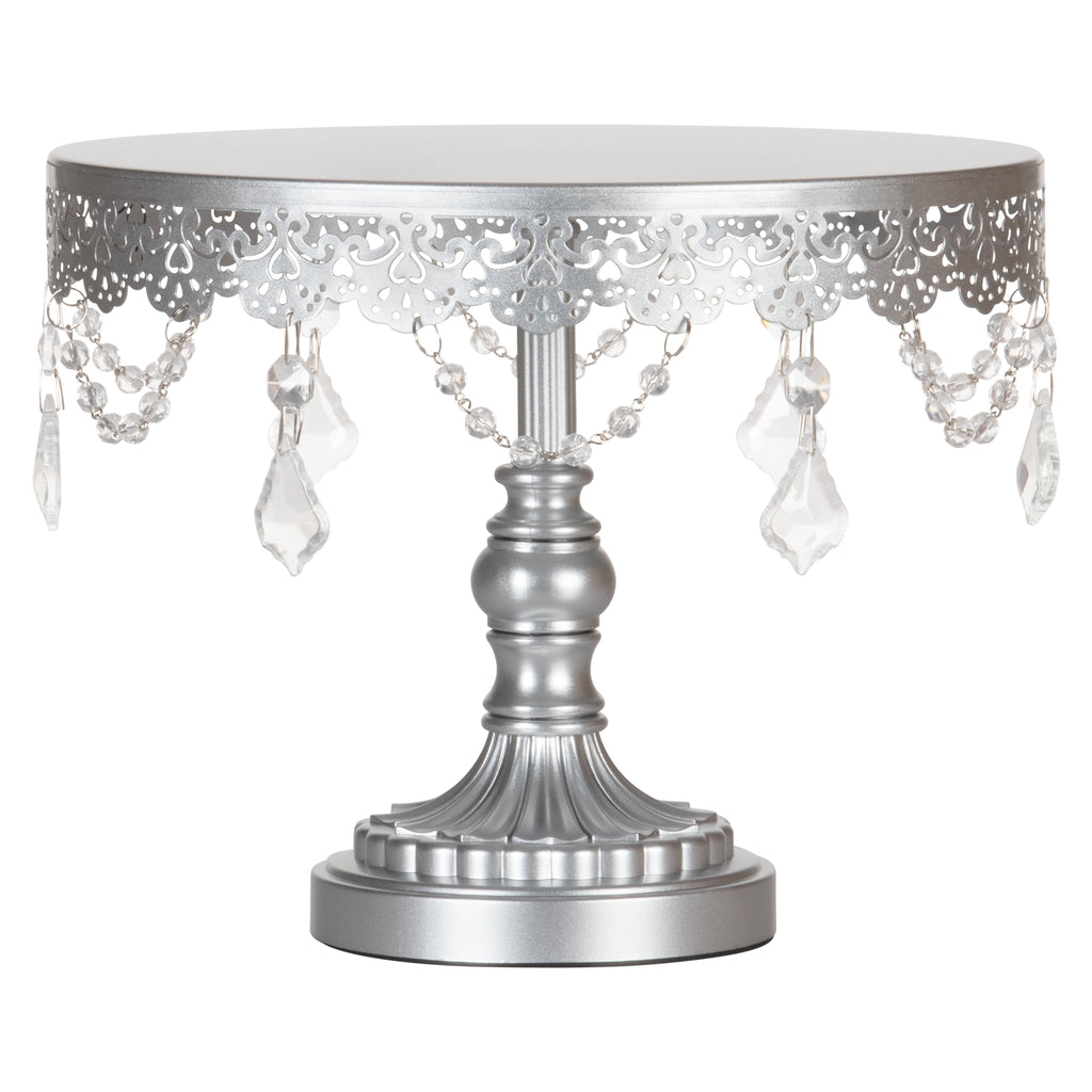 Sophia 10 Inch Antique Silver Crystal Draped Round Cake Stand by Amalfi Decor