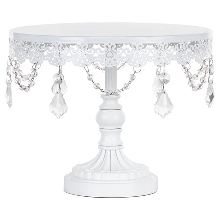 Sophia 10 Inch White Crystal Draped Round Cake Stand by Amalfi Decor