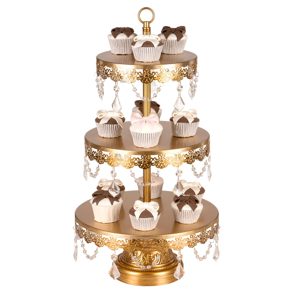 3-Tier Crystal-Draped Antique Gold Dessert Stand | Amalfi Decor