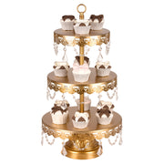 Sophia 3 Tier Antique Gold Crystal Draped Dessert Cupcake Stand by Amalfi Decor