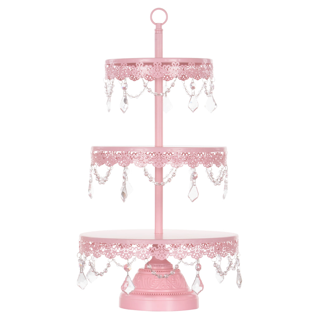 Amalfi Decor 3-Tier Crystal-Draped Pink Dessert Cupcake Stand