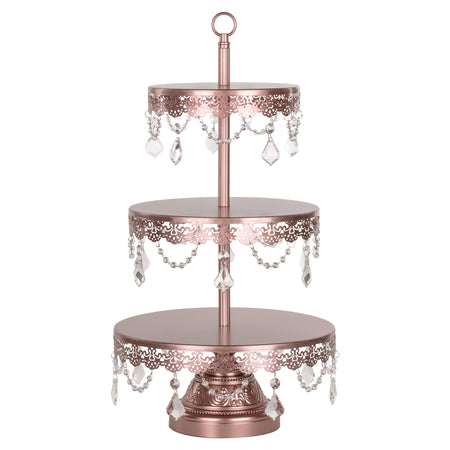 Sophia 3 Tier Rose Gold Crystal Draped Dessert Cupcake Stand by Amalfi Decor