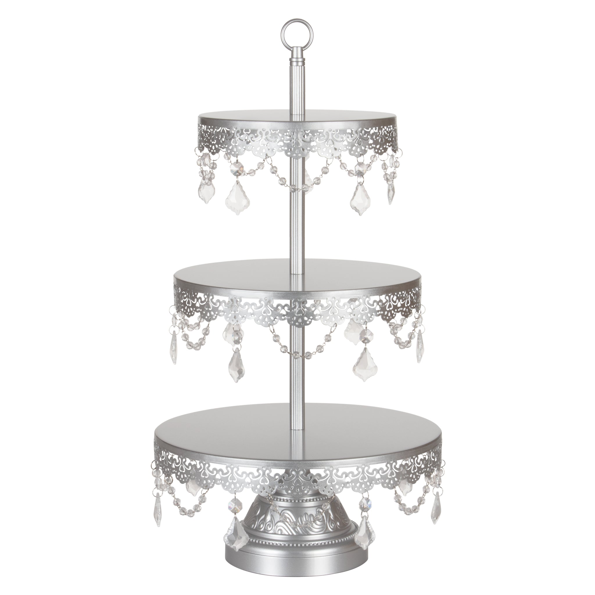 Amalfi Decor 3-Tier Crystal-Draped Dessert Cupcake Stand (Silver) | Stainless Steel Frame
