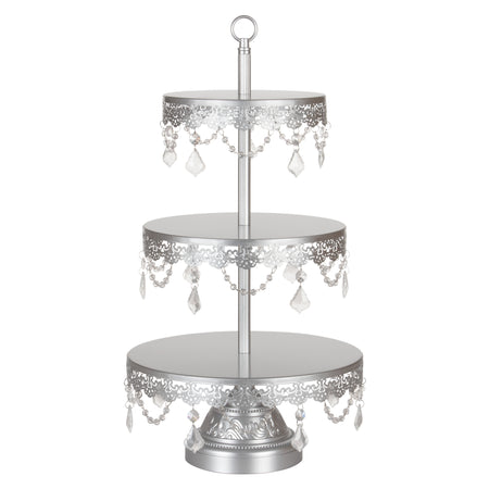 Sophia 3 Tier Silver Crystal Draped Dessert Cupcake Stand by Amalfi Decor