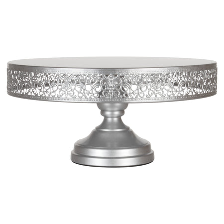 Victoria 14 Inch Silver Round Metal Wedding Cake Stand by Amalfi Decor