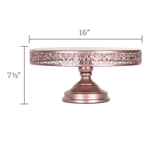 Victoria 16 Inch Rose Gold Round Metal Wedding Cake Stand by Amalfi Decor