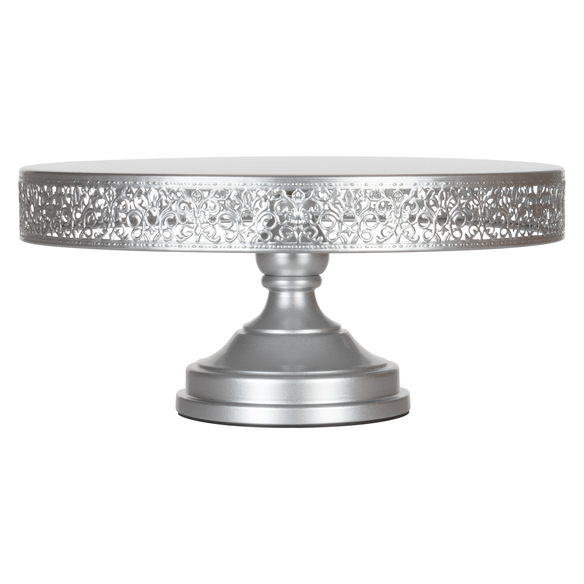 Amalfi Decor 16 Inch Round Vintage Metal Wedding Cake Stand (Silver) | Stainless Steel Frame