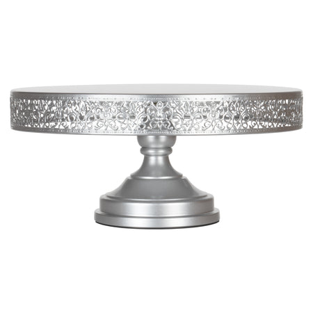 Victoria 16 Inch Silver Round Metal Wedding Cake Stand by Amalfi Decor