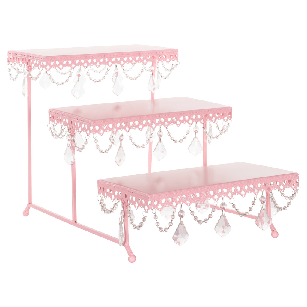 Amalfi Decor Pink 3-Tier Serving Platter and Cupcake Stand with Crystals