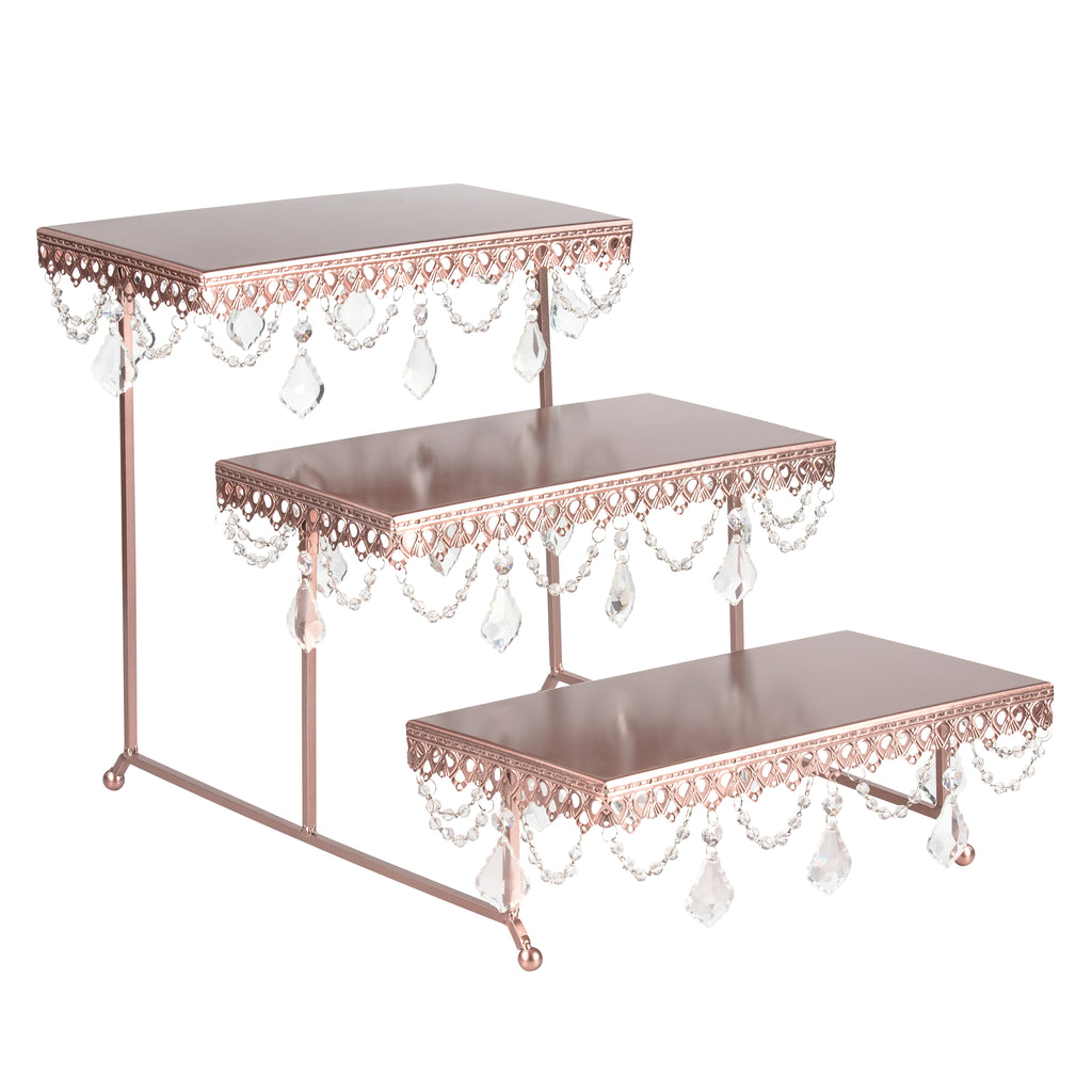 Rose Gold 3-Tier Serving Platter and Cupcake Stand with Crystals by Amalfi Decor