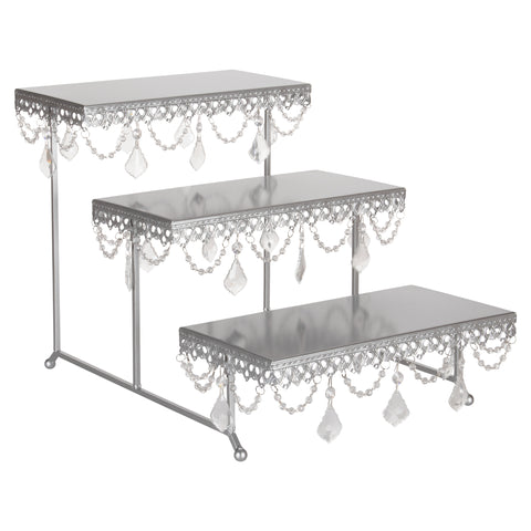 3 tier serving platter and cupcake stand with crystals silver amalfi decor. Black Bedroom Furniture Sets. Home Design Ideas