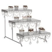 Silver 3-Tier Serving Platter and Cupcake Stand with Crystals by Amalfi Decor