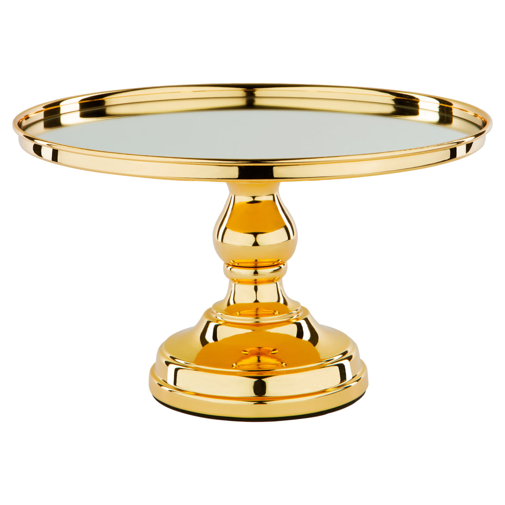 12 Inch Shiny Metallic Gold Plated Mirror Top Cake Stand Amalfi Decor