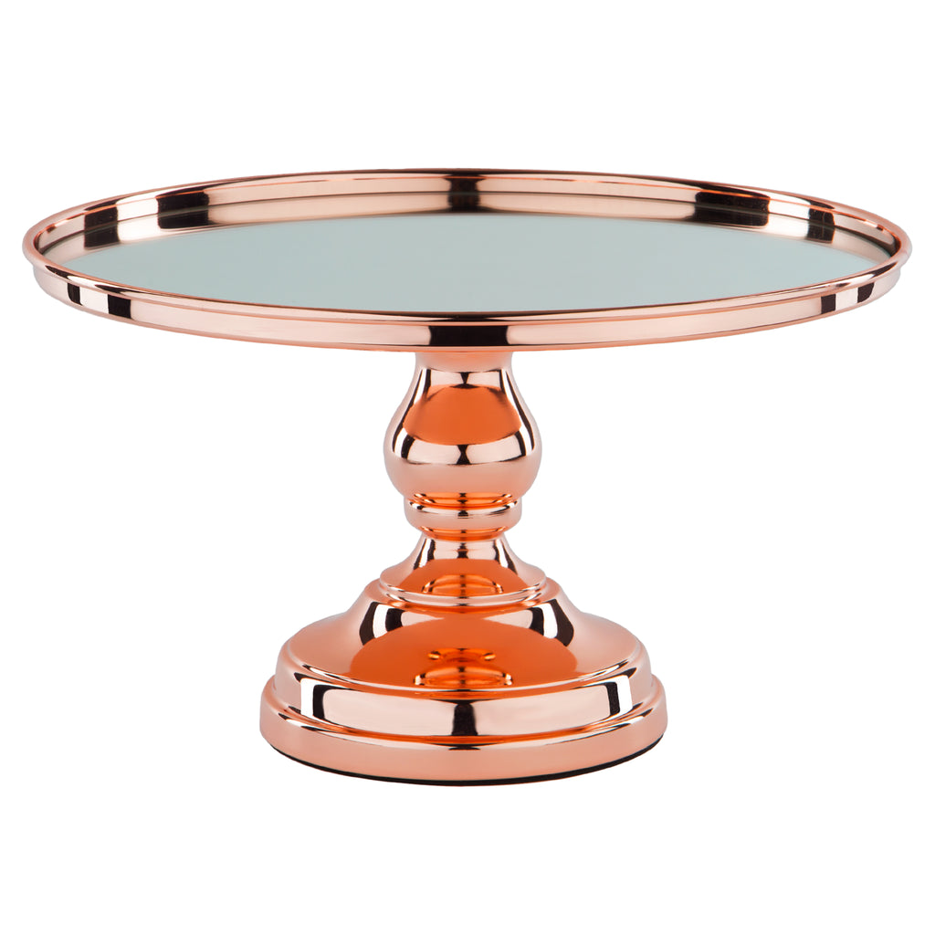 12 Inch Shiny Metallic Rose Gold Plated Mirror-Top Cake Stand | Amalfi Decor
