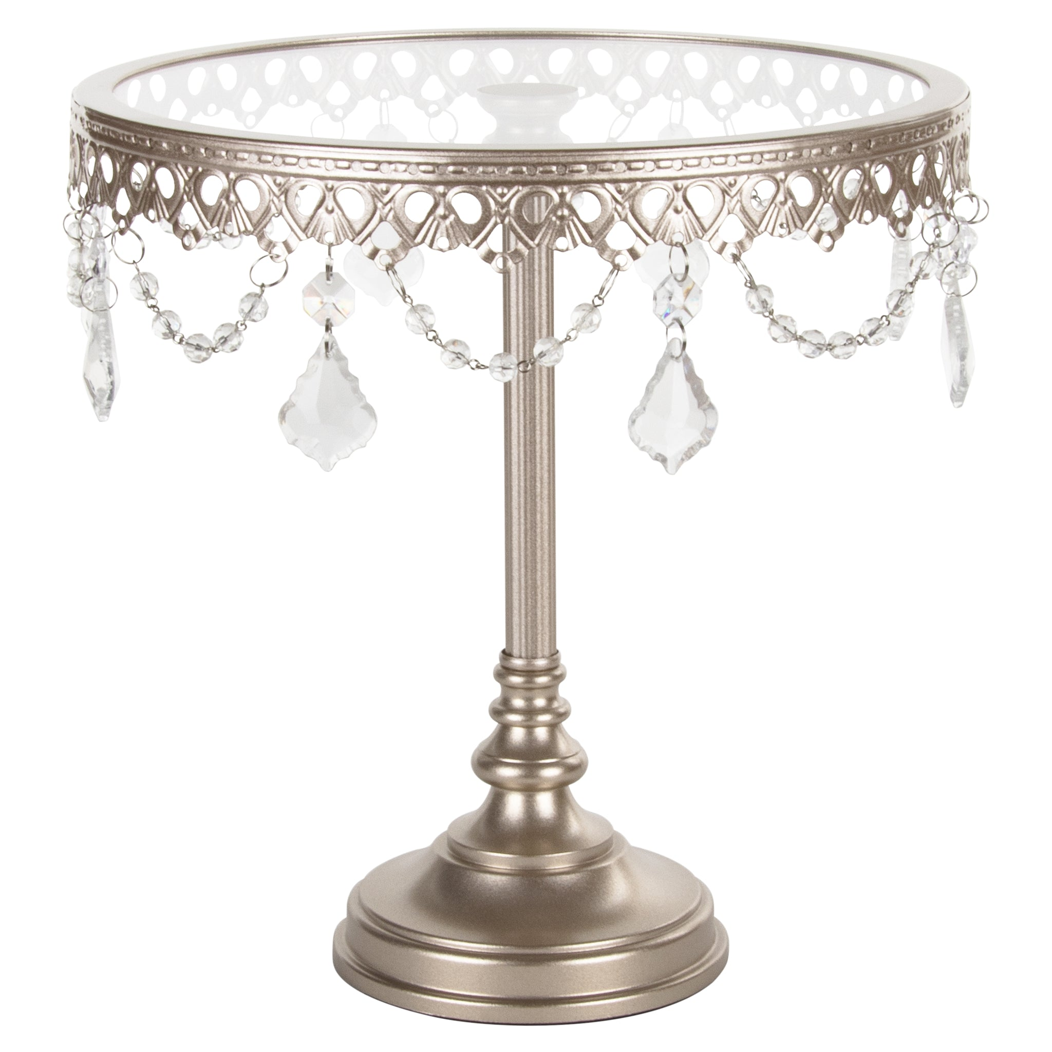 Amalfi Decor 10 Inch Glass-Top Tall Metal Cake Stand with Crystals (Champagne) | Stainless Steel Frame