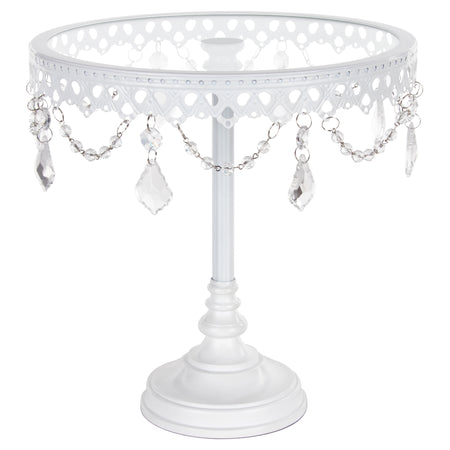 Amalfi Decor 10-Inch White Glass top cake stand with crystals