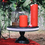 12 Inch Black Jeweled Trim Modern Metal Cake Stand by Amalfi Decor
