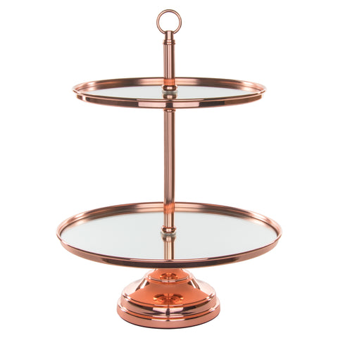 Le Gala Rose Gold Plated 2-Tier Modern Mirror-Top Dessert Cupcake Stand by Amalfi Decor