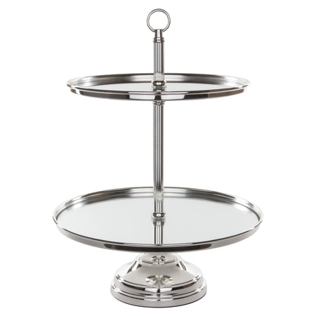 Le Gala Silver Plated 2-Tier Modern Mirror-Top Dessert Cupcake Stand by Amalfi Decor