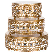 Gold 3-Piece Metal Cake Stand Risers Set with Crystal Rhinestones by Amalfi Decor